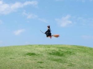 コキアホウキに乗って空を飛ぶ女の子